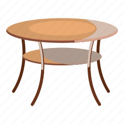 cartoon, decor, furniture, interior, round, table, wooden icon
