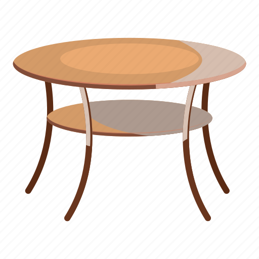 cartoon, decor, furniture, interior, round, table, wooden icon