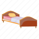 bed, bedroom, cartoon, hotel, night, room, wooden icon
