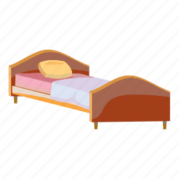 bed, bedroom, cartoon, hotel, night, room, wooden icon