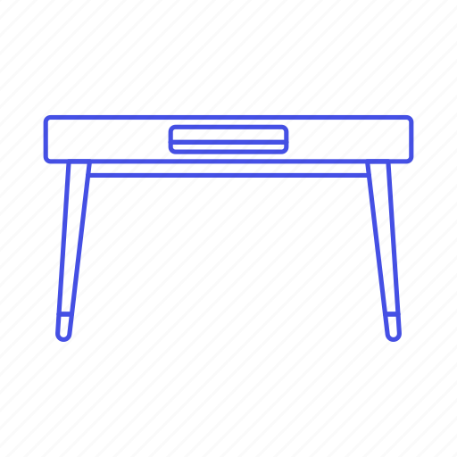 desk, furniture, leg, modern, narrow, objects, office icon