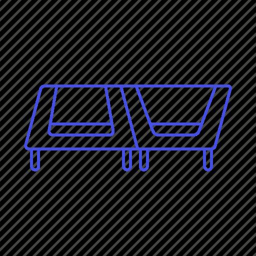 chairs, furniture, modern, objects, orange, sofa, sofas, trapezoid, white icon