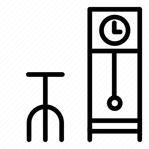 chair, clock, furniture, households, interior, standing, time icon