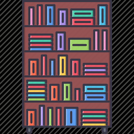 book, bookcase, decoration, furniture, home, house icon