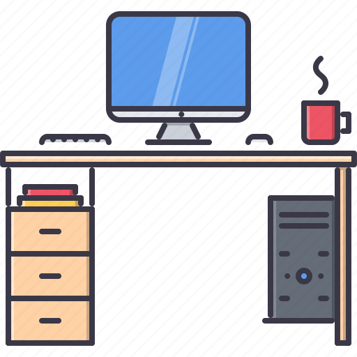 computer, decoration, desk, furniture, home, house, table icon