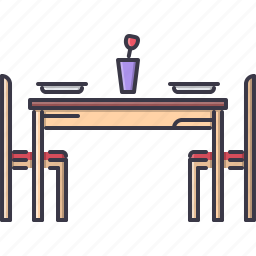 chair, decoration, dinner, furniture, home, house, table icon