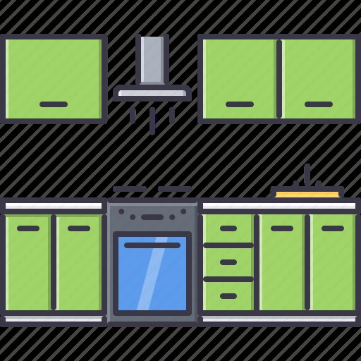 decoration, furniture, home, house, kitchen, set icon