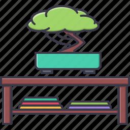 bonsai, decoration, furniture, home, house, magazine, table icon