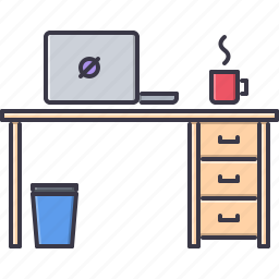 cup, decoration, furniture, home, house, laptop, table icon