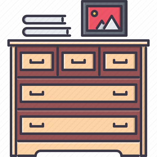 book, chest, decoration, drawers, furniture, home, house icon