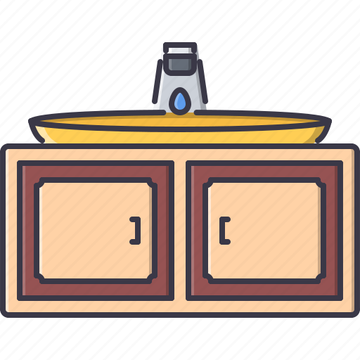 cupboard, decoration, furniture, home, house, sink, water icon