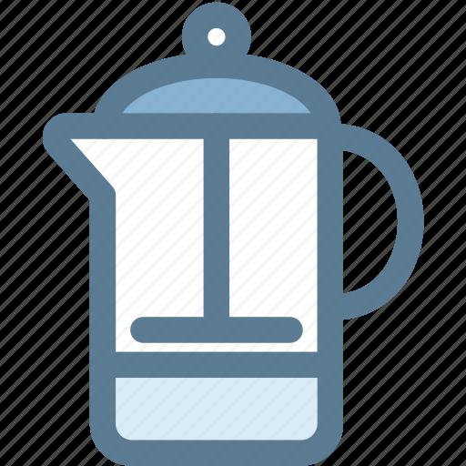 coffee, coffee press, french press, household, kitchen, pot icon