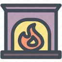 bricks, fire, fireplace, home, household, winter icon