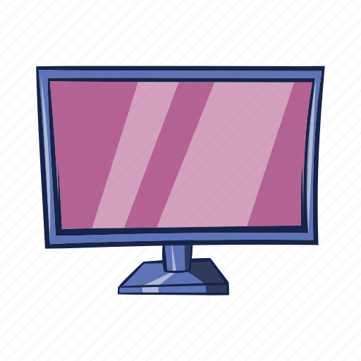 cartoon, display, isolated, object, sign, technology, tv icon