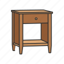 drawer, furniture, interior, night table, shelves, storage, table icon