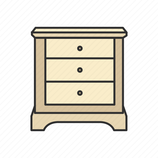 Drawer, furniture, interior, night table, shelves, storage, table icon - Download on Iconfinder
