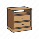 daystand, drawer, furniture, interior, nightstand, shelves, storage icon