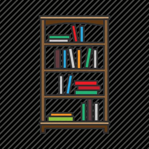Bookshelf, bookstand, cabinet, furniture, interior, shelves, storage icon - Download on Iconfinder