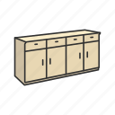 cabinet, furniture, household, households, interior, shelves, storage icon