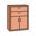cabinet, closet, drawer, furniture, household, interior, shelves icon