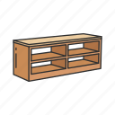tv shelf, shelf, entertainment table, tv rack, desk, table, furniture icon