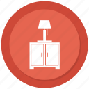computer, computer desk, computer table, lamp icon