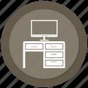 computer, computer desk, computer table icon