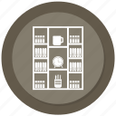 almirah, book, book almirah, clock, cup, data almirah, server almirah icon