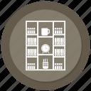 almirah, book, book almirah, clock, cup, data almirah, server almirah