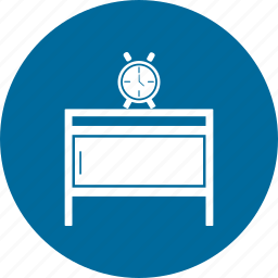clock, desk, drawer, furniture, study table, table icon