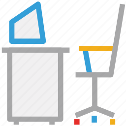 chair, computer, desk, office furniture icon