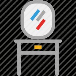dresser, furniture, looking mirror, mirror icon