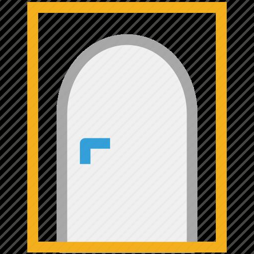 closed door, door, house door, round shape door icon