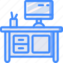 computer, desk, furniture, house, study icon