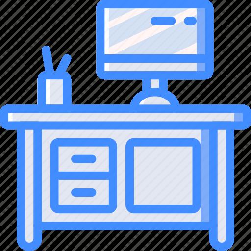 computer, desk, furniture, house, study icon