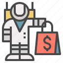 astronaut, bag, buy, customer, shopping, worldwide icon