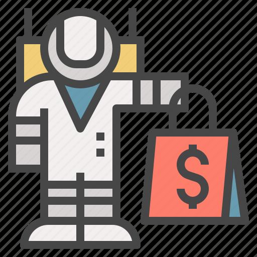 astronaut, bag, buy, customer, shopping, worldwide icon