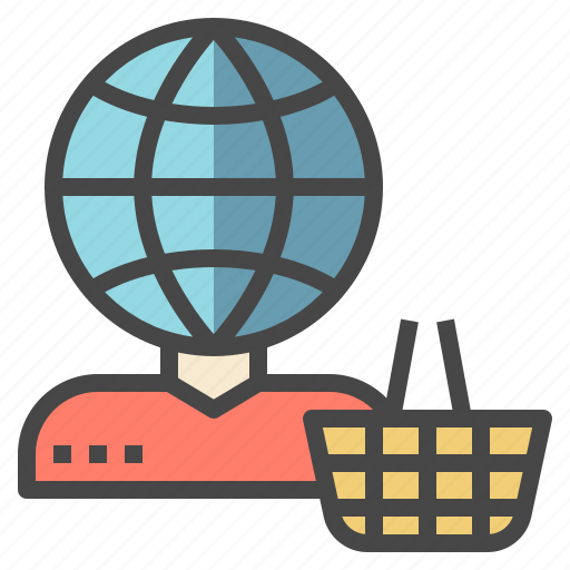 account, customer, global, online, shopping icon