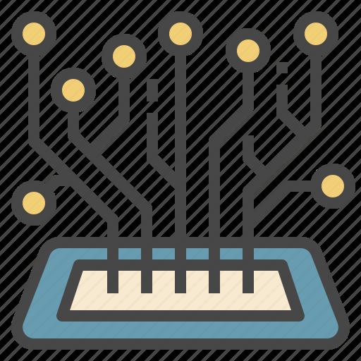 circuit, digital, futuristic, mobile, technology icon