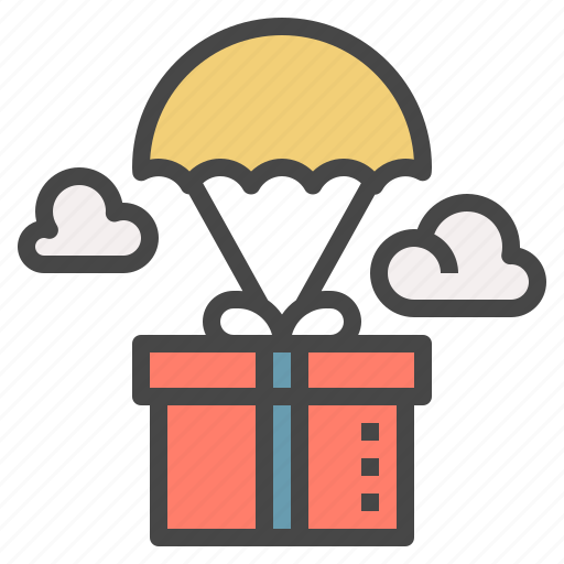 box, delivery, gift, parachute, send, shipping icon