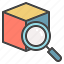 cube, find, inspect, item, look, search icon