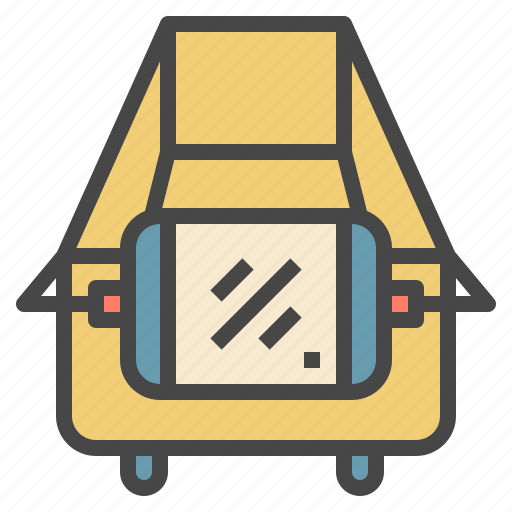 advertising, cart, equiped, information, shopping, tablet icon