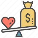 heart, love, money, pricing, scale, vs, wellness icon
