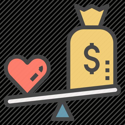 heart, love, money, pricing, scale, vs, wellness icon