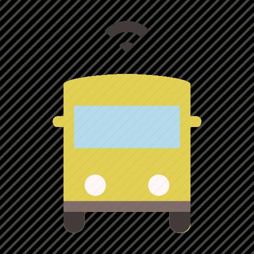 autonomous, bus, driverless, self driving, smart, transport, transportation icon