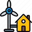 future, high tech, homes, tech, technology, windpowered icon