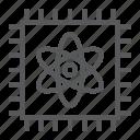 atom, technology, computing, quantum, processor, chip icon