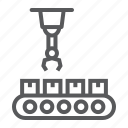 box, conveyor, package, robotic, system, technology icon