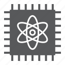 chip, processor, quantum, computing, atom, technology icon