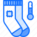device, gadget, heated, smart, socks, technology, temperature icon